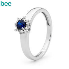 Cluster White Gold Sapphire Fine Rings