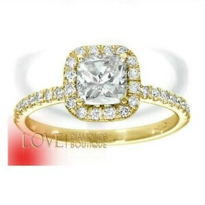 1 1/2 CT SI1 CUSHION CUT DIAMOND SOLITAIRE ACCENTS 18K YELLOW GOLD PROMISE RING