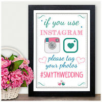 Social Media Instagram Twitter Facebook HASHTAG Wedding Sign Personalised