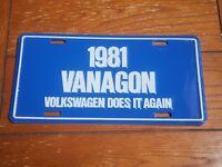 1981 Volkswagen Vanagon Dealer License Plate, Vintage.