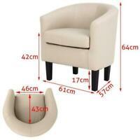 Linen Fabric Tub Chair Velvet Armchair Padded Barrel Accent Chair Living Room UK