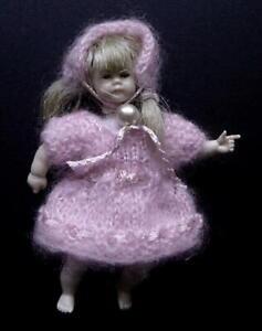 "Hand Knit SMK Miniature Doll House Dress & Hat 1:12 Scale fits 3"" Heidi Ott Doll"