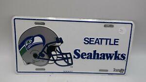 NOS VTG 1993 Metal Embossed Front License Plate Car Tag Seattle Seahawks NFL