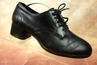 Born Black Leather Lace Up Chunky Oxford Heels Shoes Womens Size 7M US