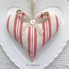 1 SUSIE WATSON IVORY PINK TICKING STRIPE Lavender Filled Fabric Heart