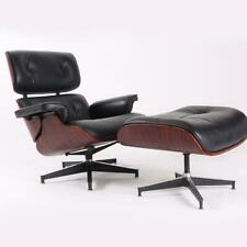 Dark Rosewood Lounge Chair & Ottoman with Black leather