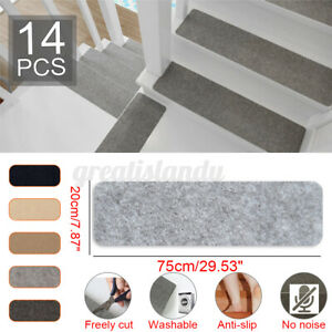 14Pcs 75x20CM Anti-slip Stair Pads Carpet Mat Sticky Bottom Repeatedly-use