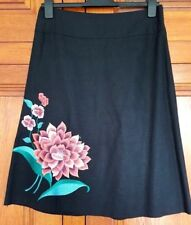 Gorgeous Atmosphere size 12 black skirt with peach, plum & emerald embroidery