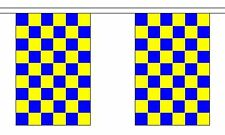 ROYAL BLUE & AND YELLOW CHECKERED 3 METRE BUNTING 10 FLAGS flag 3M