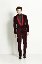 Men Velvet Coat Suit Designer Wedding Grooms Tuxedo Casual Burgundy (Coat+Pant)K