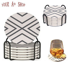 Set of 6 Ceramic Coasters with Holder Marble Drink Coffee Tea Cup Pad Mat Decor