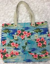 Mossimo Tote Bag Shopper Pool Beach Canvas Hipster Floral Blue Tropical Print