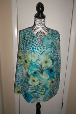 DS By Debbie Shuchat Top Sheer Beaded Flowing Trendy Chic Comfy Size Large EUC