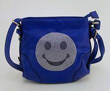 Coole Umhängetasche Schultertasche mit Smiley & aufgeklebten Imitatsteinchen