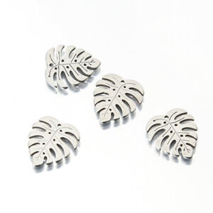 10X Stainless Steel Monstera Plant Leaf Charms DIY For Earrings Jewelry Bracelet