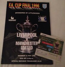 1996 FA Cup Final:- Liverpool v Manchester United. Programme + Match Ticket
