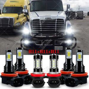For Freightliner Cascadia 2008-2016 Combo LED Headlight Bulb High/Low+Fog Lights