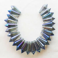 24Pcs/Set Titanium Crystal Agate Druzy Quartz Geode Stone Pendant Bead D7144