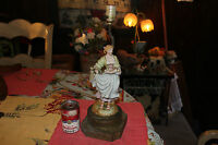 Antique Figure Table Lamp Victorian Woman Carrying Basket Of Flowers