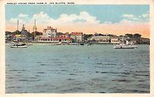 Vtg Postcard Wesley House Harbor Oak Bluffs Massachusetts Boats Houses Unused