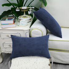 2PCS Rectangle Pillows Cushions Throws Cover Corduroy Stripes 30X50 Navy Blue