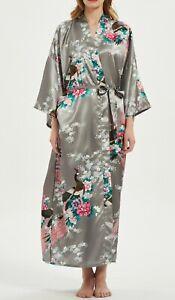 PLUS Full Length Kimono Dressing Gown Peacock Kimono Robe Floral Wedding Pyjamas