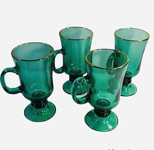 MCM Libbey Juniper Green Gold Rim Mugs Footed Irish Coffee Tea Cup Set Of 4