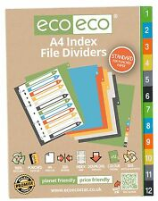 12 PART X A4 INDEX FILE FOLDER PLASTIC SUBJECT DIVIDERS ORGANISER 1 TO 12 NUMBER