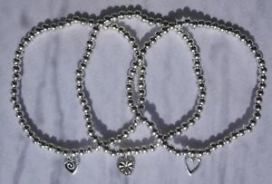 SET 3 HANDMADE SILVER PLATED STACKING BEAD STRETCH BRACELETS HEART CHARM (061)