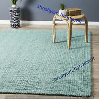 Natural Braided Turquoise Rectangle Area Rug Floor Carpet Handmade Jute Rug Rags