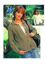 Knitting Pattern Ladies Aran Cardigans 2 Styles PATTERN ONLY 32-54 #si84