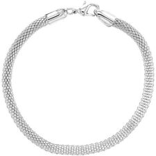 """Silver Plated Classic Thick Mesh Tube Chain Womens Bracelet 7.5"""""""