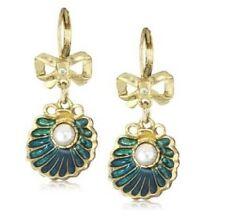 E371 Betsey Johnson Rhinestone Deep Sea Summer Beach  Shell w/ Pearl Earrings UK