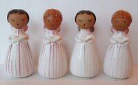 LOT OF 4 VINTAGE CAROLING ANGEL GIRLS FIGURINES, Figure Japan Striped Christmas