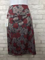 Lularoe LLR Cassie Pencil Skirt Roses Floral Red and Dusty Pink XL New!!!