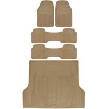 Heavy Duty All Weather Trimmable 3 Row Van SUV Floor Mats w/Cargo Mat - Beige