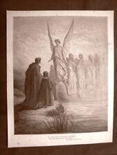 Incisione di Gustave Dorè del 1890 Angelo guida Anime Divina Commedia Purgatorio
