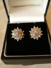 9 CARAT BRILLIANT & BAGUETTE CUT DIAMOND CLUSTER EARRINGS MADE IN ENGLAND BNIB