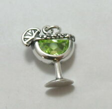 Sterling Silver MARGARITA Glass with Lime Crystal CHARM-1062