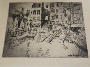 """Vintage Lionel Barrymore Etching titled Dry Dock Arches Paper 13"""" x 15.5"""""""