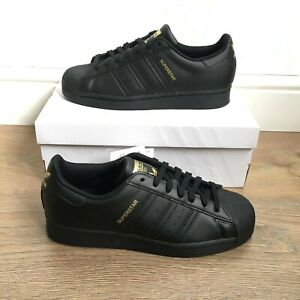 ADIDAS SUPERSTAR BLACK GOLD WOMENS LEATHER TRAINERS UK 6 BRAND NEW - H05024