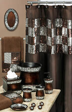 "Popular Bath Elite Orb Fabric Shower Curtain Brown Sequins 70"" x 72"""