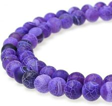 20 Dragon Vein Agate Gemstone Beads Striped Purple Frosted Jewelry Supplies