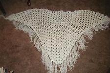 Vintage 70's Handmade White CROCHETED Knit Triangle SHAWL Hippie Boho FRINGED