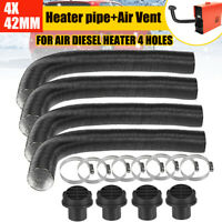 4x 42mm Heater Duct Pipe Tube+Ducting Air Vent For Air Diesel Heater 4 Holes