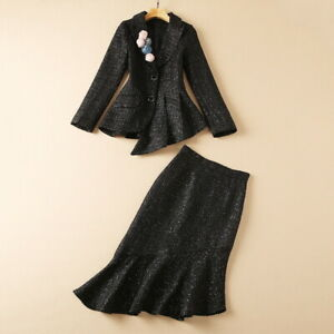 hot wholesale Halloween Day runway Lapel neck Long sleeves Button Skirt suits