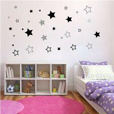 Wandtattoo Kinderzimmer Sterne Wandsticker Blau Schwarz Pink Himmel Aufkleber