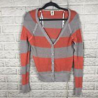 ROXY Womens Open Knit Cardigan Sweater Large Striped V Neck Light Orange Gray