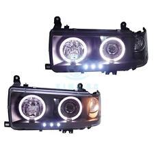 For Land cruiser Prado 4500 LC80 FJ80 1990-1997 LED Angel Eyes Headlight Black