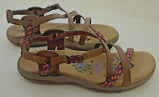New Skechers Womens Reggae Brown Cute Embroidered Sandals Sz 9